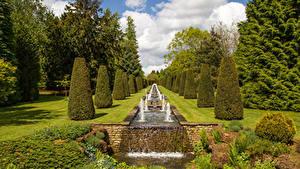 Фотографии Англия Сады Водопады Дизайна Кустов Thenford House garden Природа