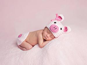 Фотография Младенцы В шапке Спящий Дети