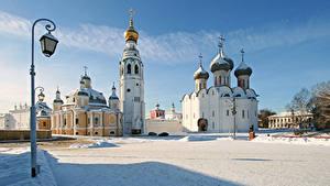Фото Россия Зимние Фонарь Купол Крест Снег Vologda Kremlin