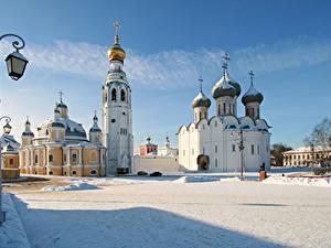 Фото Россия Зимние Фонарь Купол Крест Снег Vologda Kremlin Города