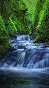 Обои Шотландия Водопады Каньон Мхом Скала Finnich Gorge Craighat