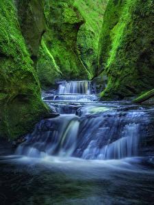 Обои Шотландия Водопады Каньон Мхом Скала Finnich Gorge Craighat Природа