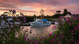 Фотографии Канада Рассветы и закаты Речка Пирсы Речные суда Steveston Природа