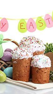 Фото Праздники Пасха Кулич Белым фоном Яйцами Английская Пища