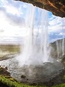 Фотография Исландия Водопады Скала Мох Seljandafoss Природа