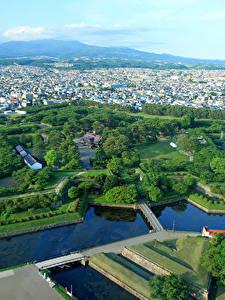 Фото Япония Здания Парк Пруд Сверху Hakodate Goryokaku Park-Fort Города