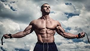 Картинки Мужчины Бодибилдинг Мускулы Живот Руки спортивные