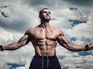 Картинки Мужчины Бодибилдинг Мускулы Живот Руки Спорт
