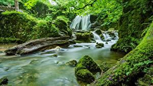 Картинки Камни Реки Водопады Англия Мхом Yorkshire