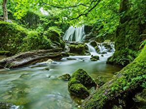 Обои для рабочего стола Камни Реки Водопады Англия Мхом Yorkshire Природа