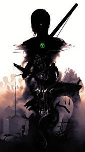 Картинки Tomb Raider 2013 Лара Крофт Силуэт Игры