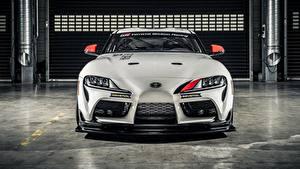 Фотография Toyota Белые Металлик Спереди Gazoo Racing, GR Supra GT4, 2020 машины
