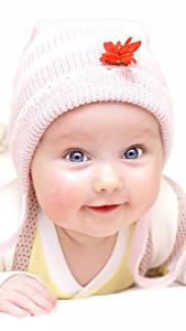 Картинка Белый фон Младенец Шапки Взгляд Милые