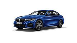 Картинки BMW Белом фоне Синих Металлик Седан 330i M Sport G20 2019