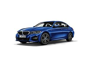 Картинки BMW Белом фоне Синих Металлик Седан 330i M Sport G20 2019 Автомобили