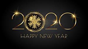 Фото Новый год Черный фон Слово - Надпись Английский Золотой 2020