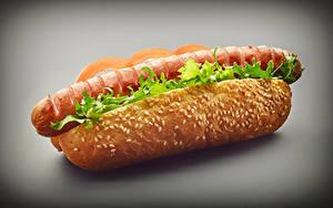 Фотографии Быстрое питание Хот-дог Булочки Сосиска Вблизи Пища