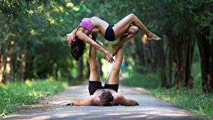 Картинка Гимнастика Мужчины Вдвоем Шатенки Тренировка девушка Спорт