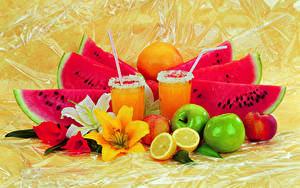 Картинка Лилии Арбузы Яблоки Лимоны Сок Апельсин Стакане Пища
