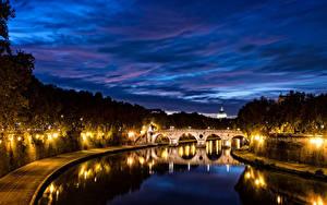 Фотография Рим Италия Река Мосты В ночи Уличные фонари город