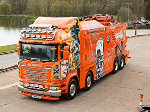Картинка Scania Тюнинг Грузовики Оранжевый 2016 R730 Highline  Terminator Машины
