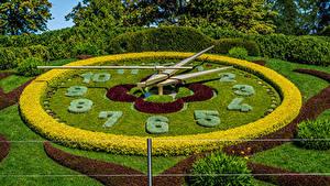 Обои Швейцария Парк Часы Дизайн Кусты Газон Geneva Природа