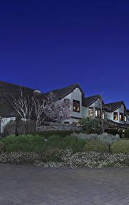 Фотография Штаты Здания Особняк Кусты Ночь Trigo Trail Trabuco Canyon Города