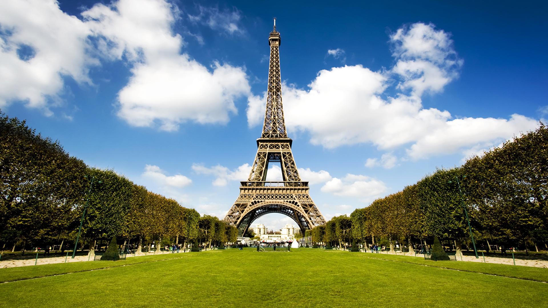 Картинки Париж Эйфелева башня Франция Парки город 1920x1080 париже парк Города
