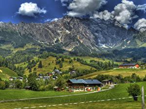 Фото Австрия Зальцбург Городки Здания Горы Поля Альпы HDRI город