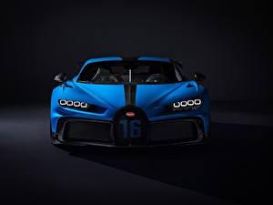 Фотография BUGATTI Спереди Синяя Металлик Chiron, 2020, Pur Sport авто