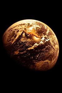 Картинка Земля Черный фон Космос