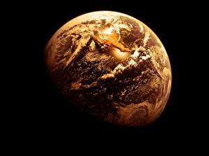 Картинка Земля На черном фоне Космос