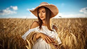 Фотография Поля Пшеница Шляпа Красивые Девушки