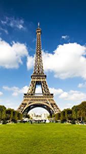 Картинки Франция Парки Эйфелева башня Париж Города