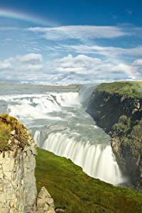 Картинки Исландия Водопады Небо Пейзаж Радуга Мох Облака Gullfoss waterfall