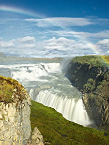 Картинки Исландия Водопады Небо Пейзаж Радуга Мох Облака Gullfoss waterfall Природа