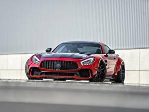 Картинки Мерседес бенц Спереди Красные Металлик AMG GT машины