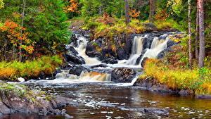 Фотография Реки Водопады Осенние Камень Россия Karelia, Ruskeala waterfalls, waterfall Ahvenkoski, river Tokhmayoki