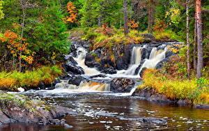 Фотография Реки Водопады Осенние Камень Россия Karelia, Ruskeala waterfalls, waterfall Ahvenkoski, river Tokhmayoki Природа