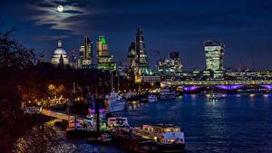 Фотография Великобритания Реки Дома Мосты Пирсы Небо Речные суда Лондон Луна Blackfriars Bridge Города