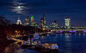 Фотография Великобритания Реки Дома Мосты Пирсы Небо Речные суда Лондон Луна Blackfriars Bridge