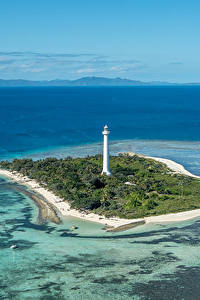 Фотография Франция Море Остров Маяки Пирсы Amedee Lighthouse Природа
