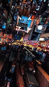 Фотографии Дома Небоскребы США Сверху Нью-Йорк Мегаполис город