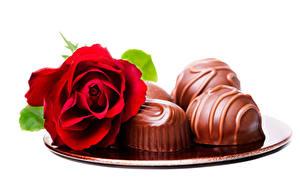 Обои Роза Конфеты Шоколад Белым фоном Красная Пища Цветы