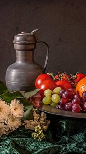 Фотографии Натюрморт Виноград Фрукты Кувшины Продукты питания