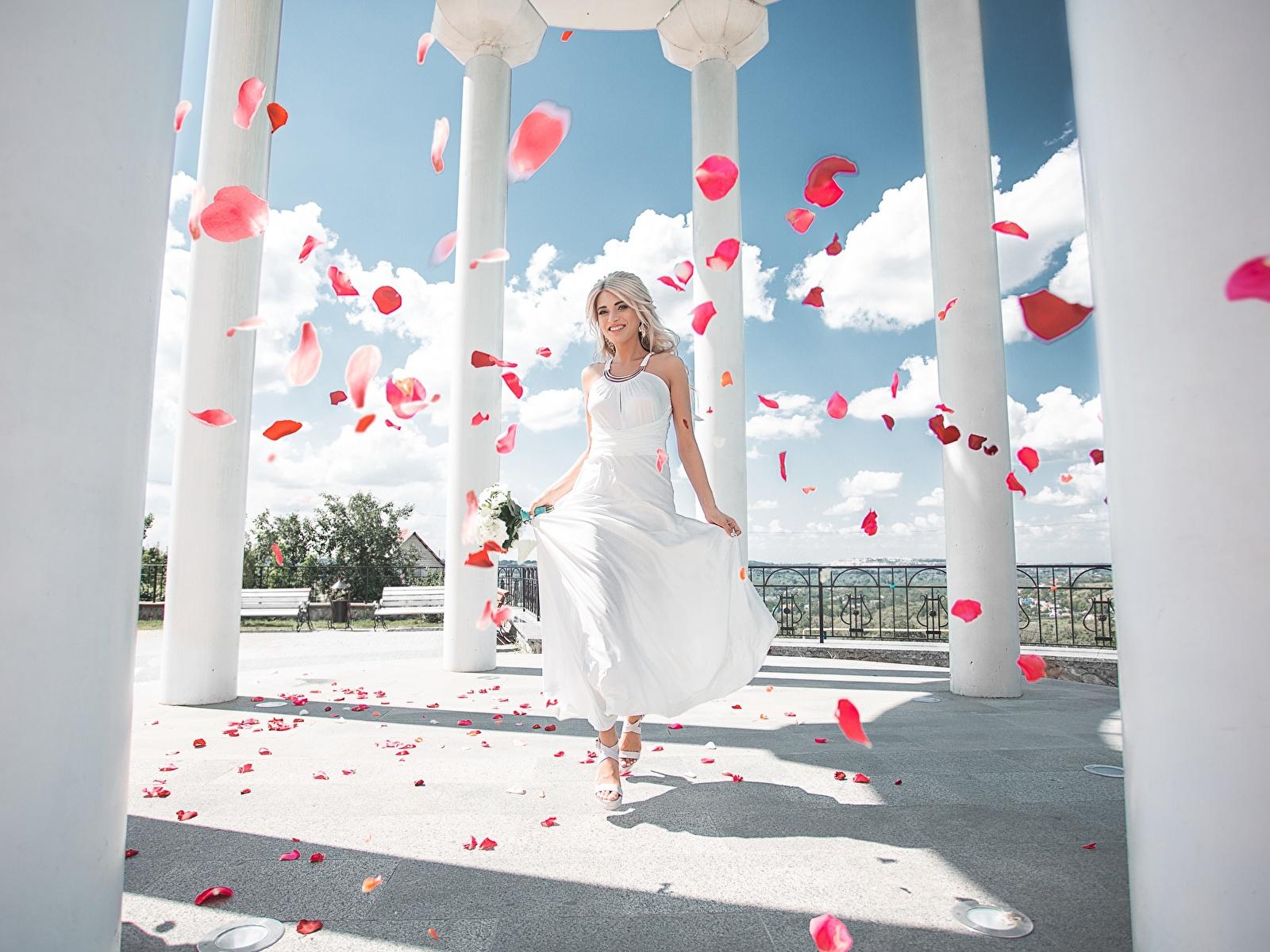 Фото колонны Maxim Tumanov Девушки Лепестки платья 1600x1200 Колонна девушка лепестков молодые женщины молодая женщина Платье