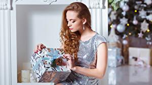 Обои для рабочего стола Новый год Шатенка Подарков Платье Шишка Девушки