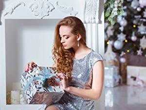 Картинки Новый год Шатенка Подарков Платье Шишка