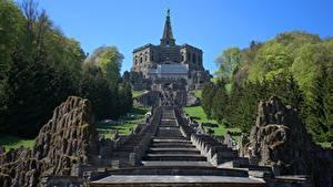 Картинка Германия Парк Скульптуры Лестницы Скала Hercules, Kassel, Wilhelmshöhe mountain Park Города