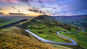 Обои Дороги Небо Англия Пейзаж Холм Облака Mam Tor, Peak District, Derbyshire